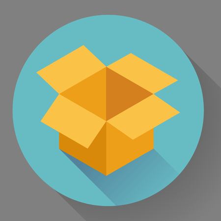 shipped: Icon of empty  opened cardboard box. Flat style.