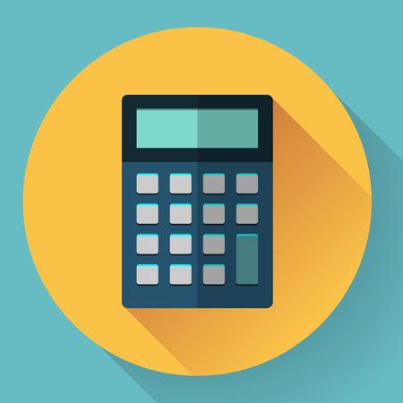 teclado num�rico: icono de la calculadora con una larga sombra. estilo plano.