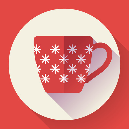 Cup icon with snowflake. Flat designed style.