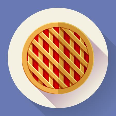 apple cinnamon: Sweet apple pie icon. Flat designed style.