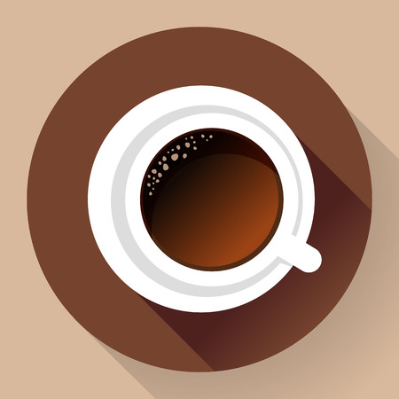 hot cup: Good morning drink - hot cup of coffee. Flat Icon. Long shadow style.