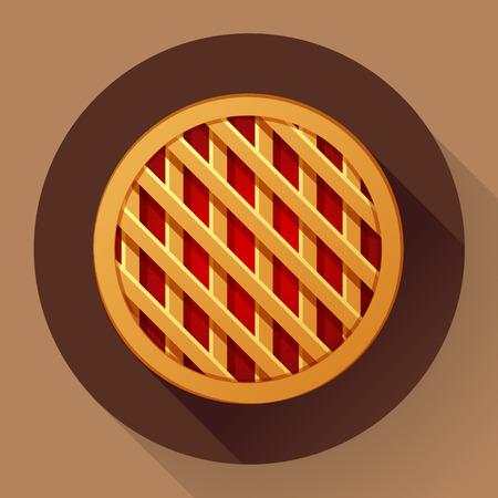 apple pie: Sweet apple pie icon. Flat designed style.