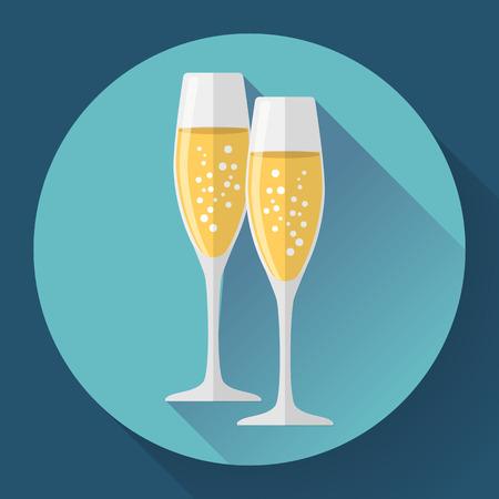 brindisi spumante: Due bicchieri di champagne. Icona di stile piatta