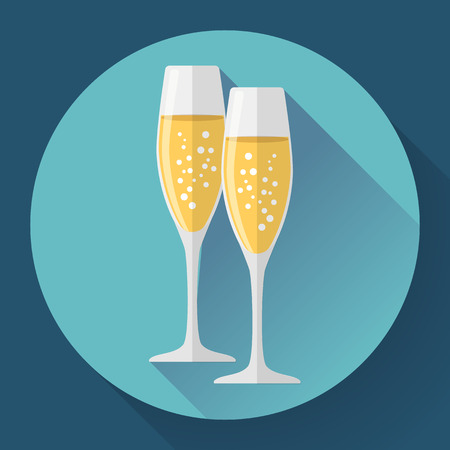 Two glasses of champagne. Icon in the flat style Иллюстрация