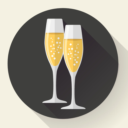 couple dining: Two glasses of champagne. Icon in the flat style on dark background