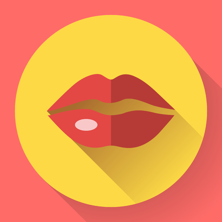 lips close up: Sexy Lips Vector Icon. Flat designed style. Illustration