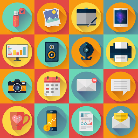 phone business: Set of Modern flat icons. collection for freelancers work at home. With long shadow effect in stylish colors of business elements, office equipment and marketing items.