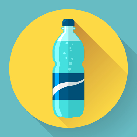 gaseosas: Icono de Estilo plana con una larga sombra. Una botella de agua. Concepto para la educación, cursos de formación, el desarrollo personal y artículos de procedimientos