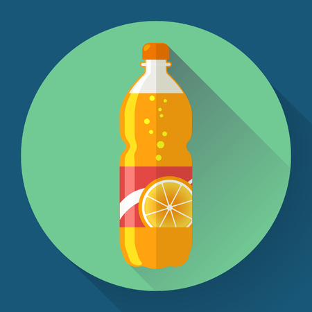 soda splash: Bottle with orange soda liquid. Flat designed style. Illustration
