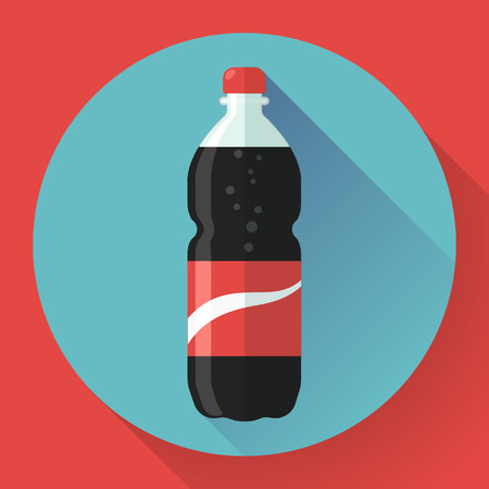 Bottle of cola soda with red label. Flat designed style.