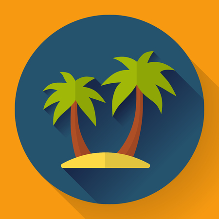 pictorial art: palm Island. Travel Icon. Flat designed style
