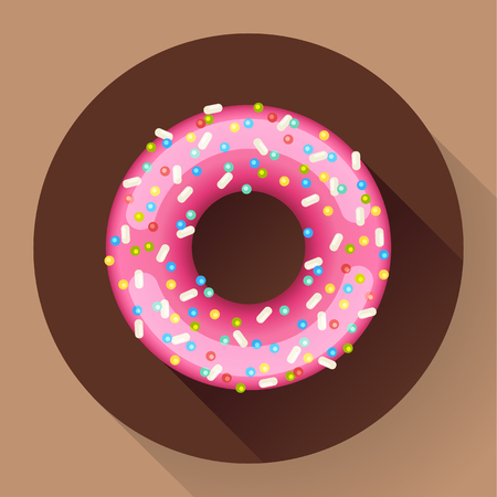 donut style: Cute sweet colorful donut icon. Flat designed style