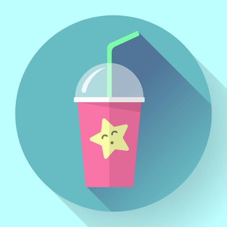 tubule: Bubble Tea or Milk Cocktail icon . Glass of drink with tubule. Retro illustration of bubble tea or milkshake on background.