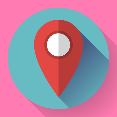 home search: Map pointer flat icon, vector illustration. Flat design style. Illustration