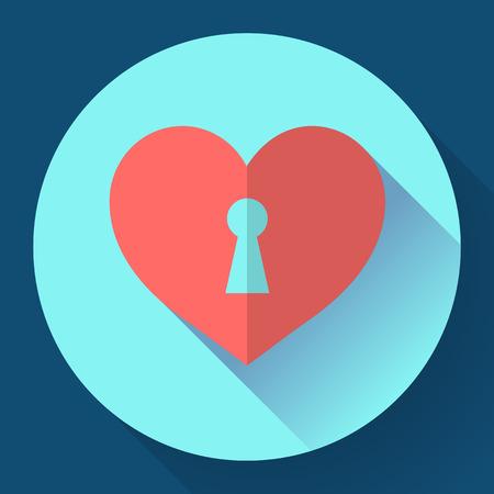 unlocked: heart with keyhole. Love icon. Flat style