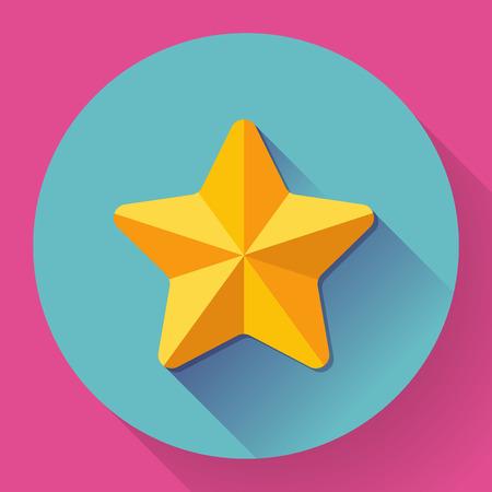 shine: Single golden star shine. Flat designed style