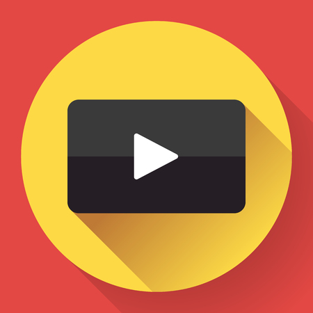 media network: Modern flat video player icon on red