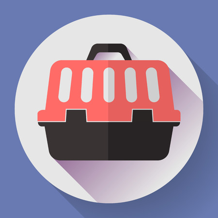 cat carrier: Pet dog or cat travel cage flat icon with long shadow.