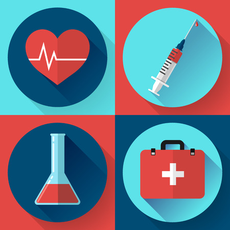 injector: Trendy flat medical icons with shadow. Vector elements injector, heart cardiogram, First aid case and blood in the flask