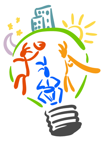 esoteric: musicians playing didgeridoo, African drums, Indian singing bowl. Inside the bulb - idea. Logo esoteric parties. Hand-drawn
