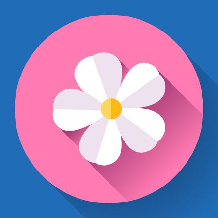 frangipani flower: White cute Frangipani flower icon. Nature symbol