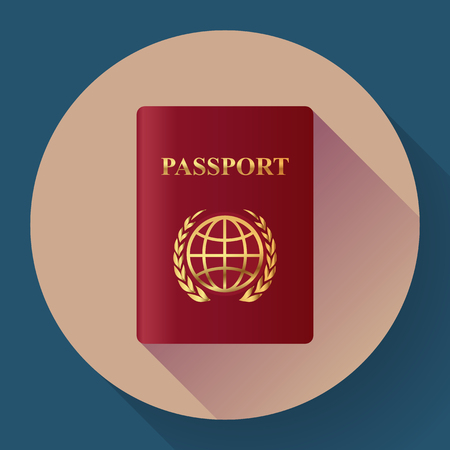 citizenship: Red leather Passport icon. Flat design style. Vector illustration.