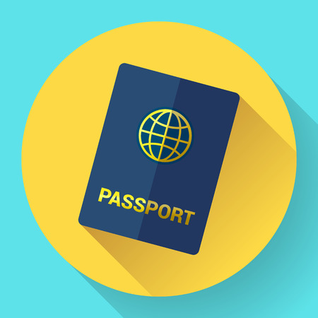 Vector blue international passport with globe. Flat Design