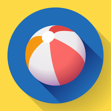 red ball: Beach Ball icon. Modern Flat style with a long shadow. Illustration