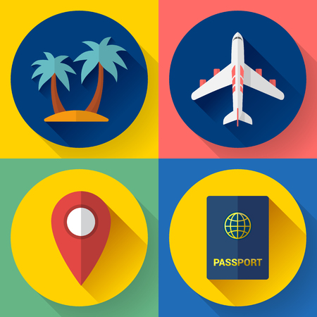 seaside resort: Set of Flat Quality Travel Icons for web and applications.