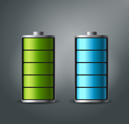 electricity icon: Fully charged battery smartphone - vector illustration. The blue and green colors. Illustration