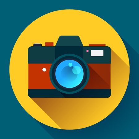 simple frame: Vintage photo camera icon with long shadow. Flat design style