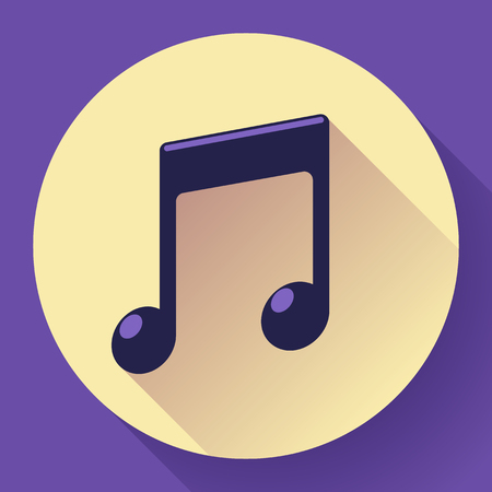 key signature: Vector pink music icon with long shadow. Flat design style