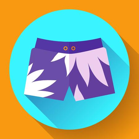 underwear: Man Beach Shorts Vector icon. Flat design style Illustration