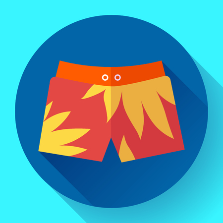 cartoon underwear: Man Beach Shorts Vector icon. Flat design style Illustration