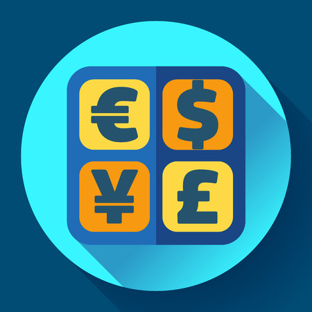 converter: Currency exchange sign icon. Currency calculator or converter symbol. Money label. Vector