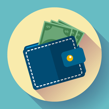 Flat Vector Wallet and Money Icon with long shadow Stock Illustratie