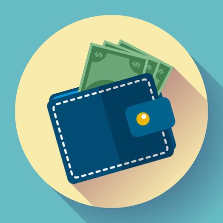 Vector Flat Wallet and Money Icon con larga sombra Ilustración de vector
