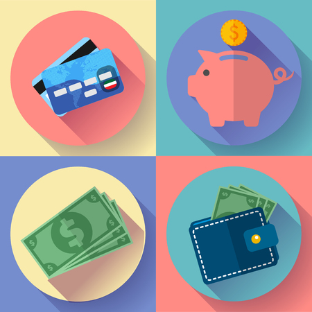 thrift: Flat Vector icon Set Wallet, credit card, piggi and Money with long shadow