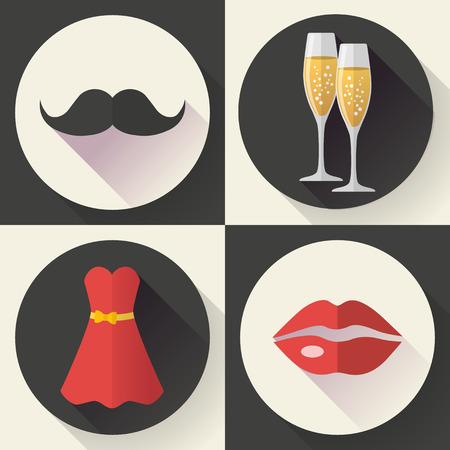 romantic date: Romantic Date Icons, flat design style vector. Illustration