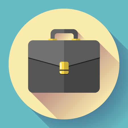 attache: Dark Briefcase vector icon. Flat designed style.