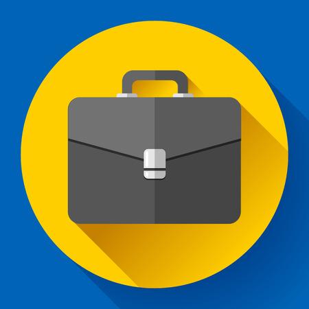 Dark Briefcase vector icon. Flat designed style.