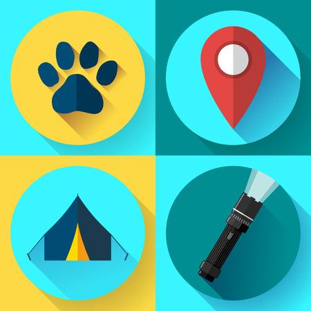 refuge: Camping Hiking icons set, flat design style vector.