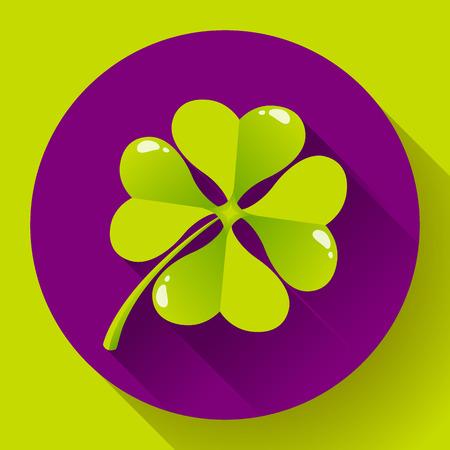 four fourleaf: Four-leaf quatrefoil clover icon. Flat design style.
