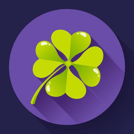 quatrefoil: Four-leaf quatrefoil clover icon. Flat design style.