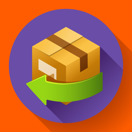 retailing: Delivery and free return of gifts or parcels. Shipping Concept icon for internet store. Flat design style.