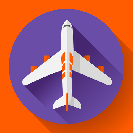 airbus: Airplane delivery vector icon. Flat design style.