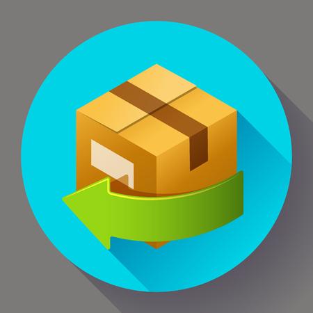 Lieferung und kostenlose Rückgabe von Geschenken oder Pakete. Versand Konzept Symbol für den Internet-Shop. Flache Design-Stil.