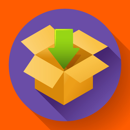 freebie: Flat pack icon on round color background. Shipping icon for internet store. Flat design style.
