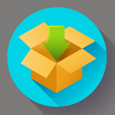 retailing: Flat pack icon on round color background. Shipping icon for internet store. Flat design style.