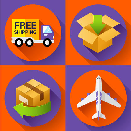 retailing: Shipping and delivery icons set. Shipping Concept icon for internet store. Flat design style.